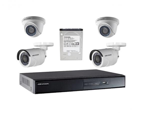 kit dvr Hikvision turbo HD 4 canales + 4 camaras INSTALADAS